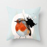 robin Throw Pillows featuring Robin by Stroke a Bird