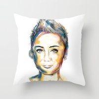 miley Throw Pillows featuring Miley Cyrus by caffeboy
