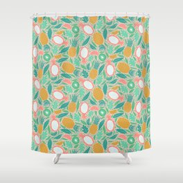 Summer Fruit on Pink Shower Curtain