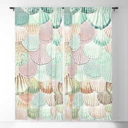 MERMAID SHELLS - MINT & ROSEGOLD Blackout Curtain