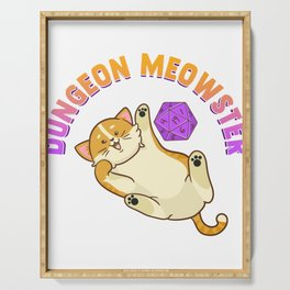 Funny Dungeon Meowster Fantasy Gaming Pun Serving Tray