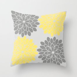Big Grey and Yellow Flowers Throw Pillow
