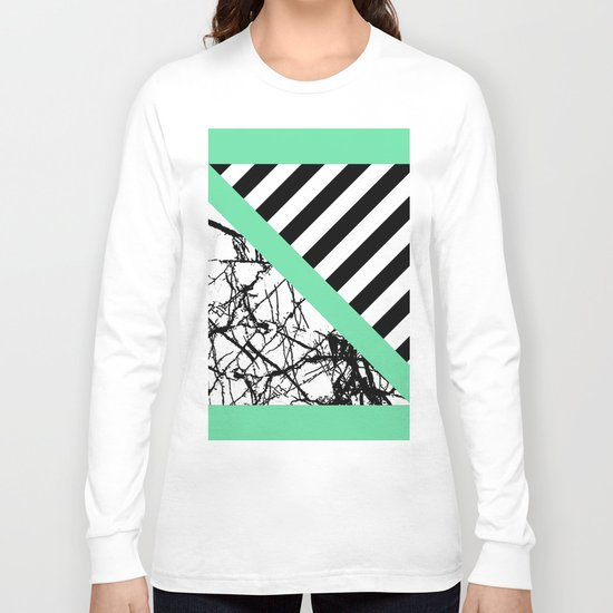Stripes N Marble - Black and white geometric stripes and marble pattern, bold on green background Long Sleeve T-shirt