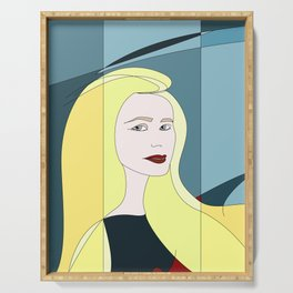 Euphoria Jaune Blonde Woman Hair Abstract Portrait Serving Tray
