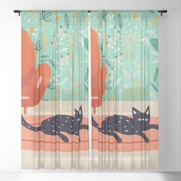 Boho Cat, Illustration Whimsical Graphic Design Pet Illustration Home Decor Eclectic Quirky Animal Sheer Curtain