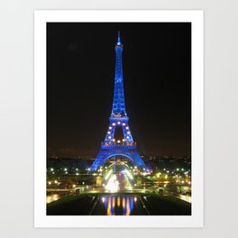 Scenic Eiffel Tower at Night Art Print