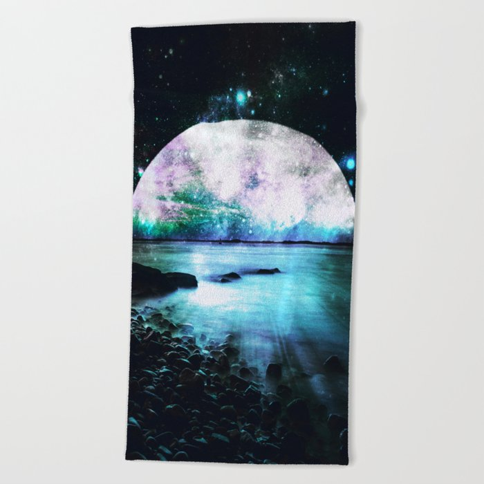 Mystic Lake Turquoise Violet Beach Towel