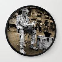 newspaper Wall Clocks featuring Newspaper Man by Rob Hawkins Photography
