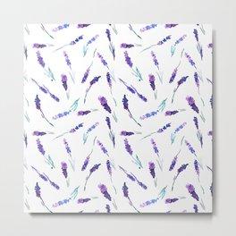 Romantic watercolor lavender pattern Metal Print