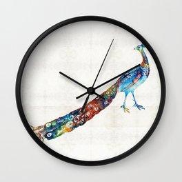 Colorful Peacock Art By Sharon Cummings Wall Clock