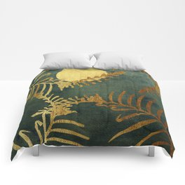 Golden Cycas leaves on dark green canvas Comforters