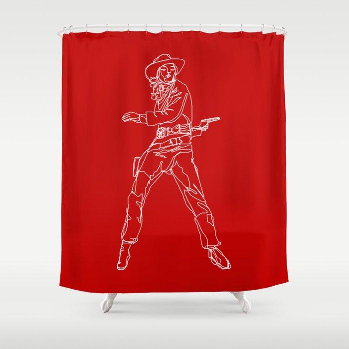 Crimson Cowgirl Shower Curtain