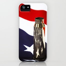 Red White and Brass the American Flag and a 20mm brass Casing reflections iPhone Case