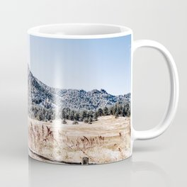 Flatirons Boulder // Colorado Scenery Mountain Landscape Snowfall Fence Line Coffee Mug