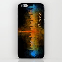 Dubai, emirates, City Cityscape Skyline watercolor art v4 iPhone Skin
