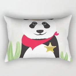 Panda Bear Sheriff Rectangular Pillow