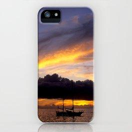 Tahiti Tropical Sunset over Sailboat iPhone Case
