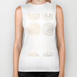 Simply Mod Circles in White Gold Sands on White Biker Tank