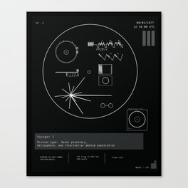 Voyager 1 - Black Canvas Print
