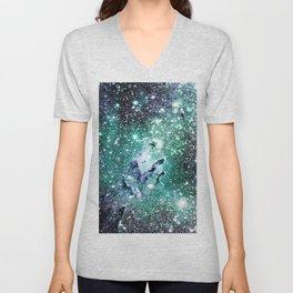 Eagle Nebula Deep Pastel Periwinkle Mint Unisex V-Neck
