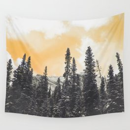 Orange Skys Above the Pines Wall Tapestry