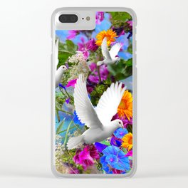White Doves in Blue & Purple Garden Clear iPhone Case