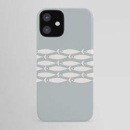 Fish Stripe 6 - Minimalist Ocean Pattern in Light Blue-Gray and Cream iPhone Case