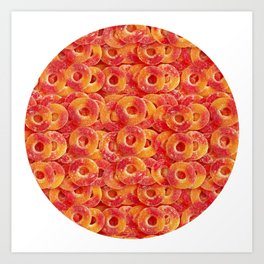 Gummy Sour Peach Rings Photo Pattern Art Print