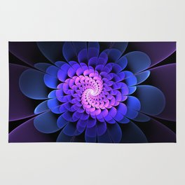 Spiraling Flower Fractal in Blue and Purple Rug