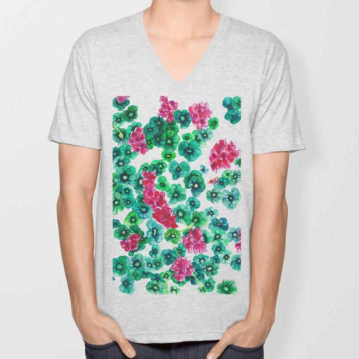 Pink Begonia Green Leaves Unisex V-Neck