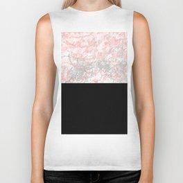 Blush tones pink black geometric marble Biker Tank
