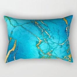 Gold And Teal Blue Indigo Malachite Marble  Rectangular Pillow