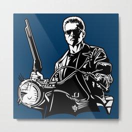 The Terminator, Arnold, Motorbike, Retro Metal Print