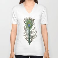peacock feather V-neck T-shirts featuring Peacock Feather by Sophie Wedd