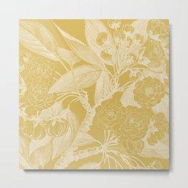 Floral, Rose, Vintage Print, Mustard Yellow Metal Print