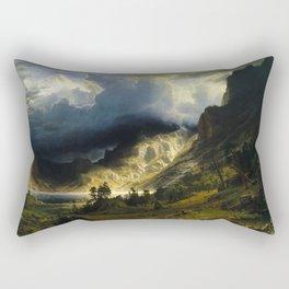Albert Bierstadt - A Storm in the Rocky Mountains, Mt. Rosalie Rectangular Pillow
