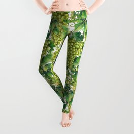 Watercolor bunches of white grapes hanging on the branch Leggings