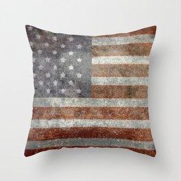 USA flag - Old Glory in dark grunge Throw Pillow