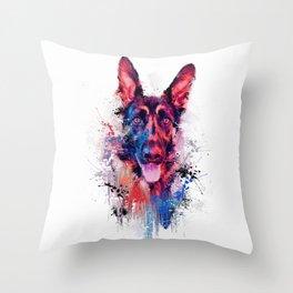 Drippy Jazzy German Shepherd Colorful Dog Art by Jai Johnson Throw Pillow