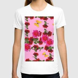 CLIMBING PINK & RED ROSES YELLOW BUTTERFLIES T-shirt