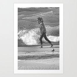 Girl On The Beach - Black and White Art Print
