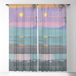 "Félix Vallotton ""Sunset at Grace, Orange and Violet Sky"" Sheer Curtain"