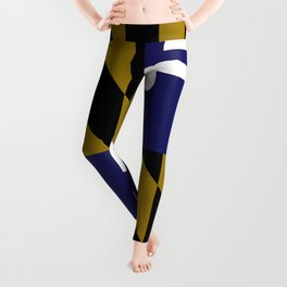 Maryland State Flag Baltimore Football Season Colors Purple Gold Leggings