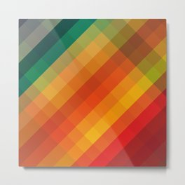 Colorful Box Strips Trending Pattern - Funky Multi color Metal Print