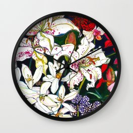Lilies & Orchids Wall Clock