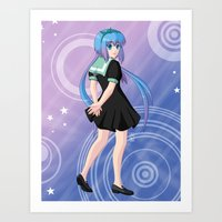 vocaloid Art Prints featuring Aoki Lapis - VOCALOID Gakuen by Tenki Incorporated