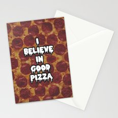 i believe in good pizza Stationery Cards