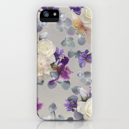 Bouquets of roses, peonies and purple iris. iPhone Case