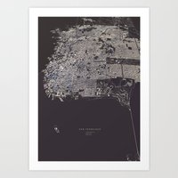 san francisco map Art Prints featuring San Francisco City Map by Luis Dilger