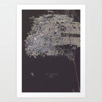 san francisco map Art Prints featuring San Francisco City Map by maptastix